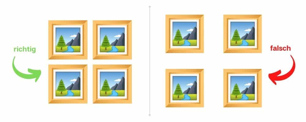 Wie hängt man mehrere Bilder auf?