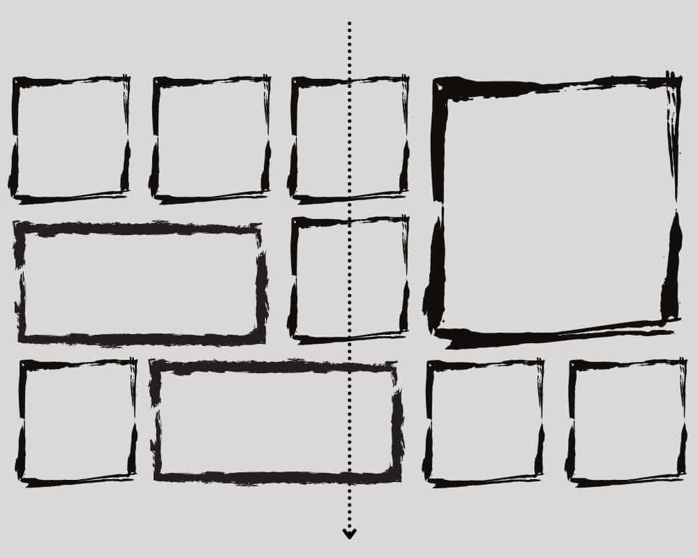 mehrere Bilder mittels einer vertikalen Linie aufhaengen